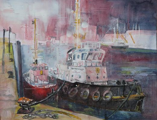 Cuxhaven_Hochseeschlepper im alten Fischereihafen_Aquarell 50x65cm_9-2018