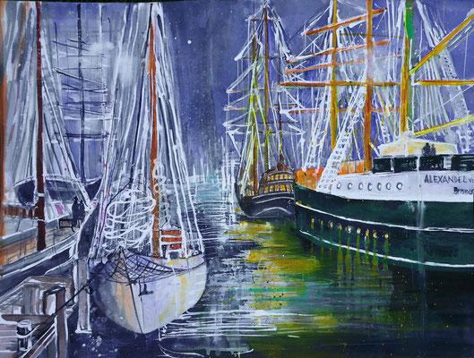 Bremerhaven_Stimmung während der Sail_Aquarell 56x76 cm_7-2018