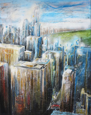 N.Y. Blick vom Rockefeller-Center uptown_Mixed-Media auf Leinwand_80x100 cm