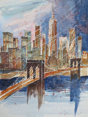 NY_Skyline with Brooklynbridge_Aquarell 24x32 cm_4-2019