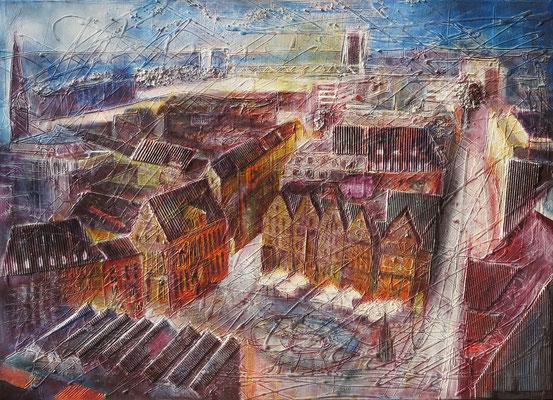 Bremen_Altstadt von oben_Mixed-Media-Collage auf Leinwand 70 x 100 cm_7-2018