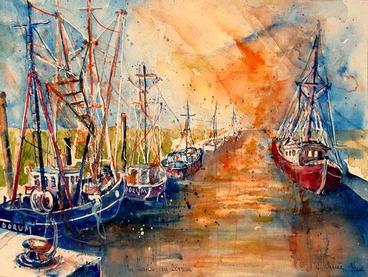 Cuxland_Krabbenkutter im Hafen von Dorum_36x48 cm