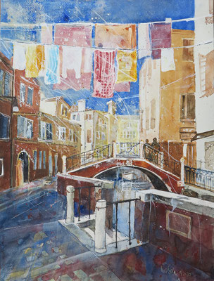 """Venedig_Fondamenta del Forner """"Waschtag""""_Aquarell 44x59 cm_1-2020"""