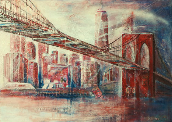 N.Y. Brooklyn Bridge_Mixed Media Collage auf Leinwand_70x100 cm_1/2016