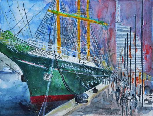 Brmerhaven_Alexander von Humboldt II im neuen Hafen_38x56 cm_