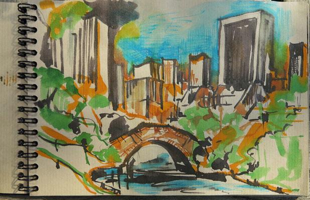 N.Y. Steinbrücke im Central Park