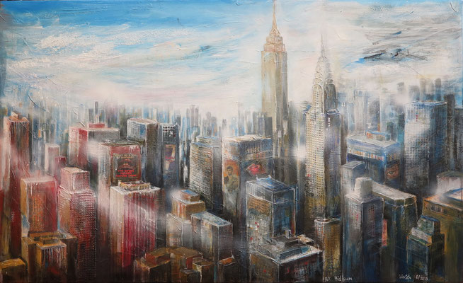 N.Y. Midtown mit Empire-State - und Chrysler-Building_Mixed-Media auf Leinwand_69x112 cm_6-2015