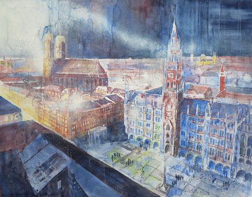 München_Marienplatz von der Peterskirche_Aquarell 50x65 cm_10-2018