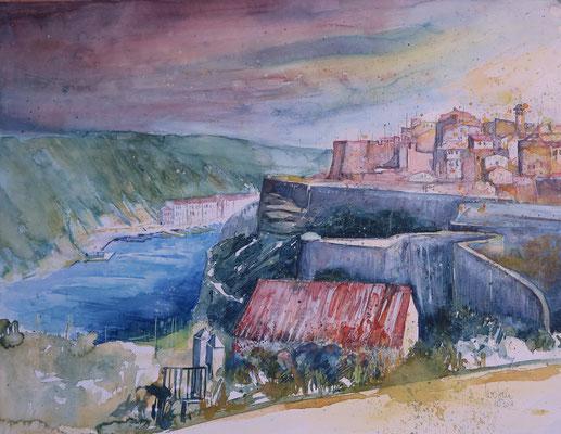 Bonifacio auf Korsika_Aquarell 50x65 cm_10-2018