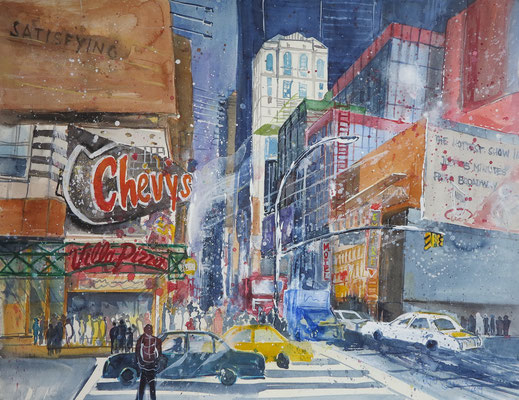 NY_At 8th Ave and W42th street_Aquarell 45x61 cm_3-2019