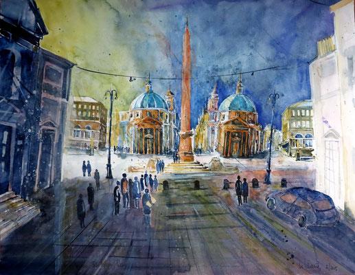Rom_Zwillingskirchen Piazza del Popolo_50x65 cm