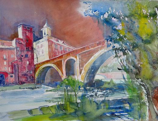 Rom_Ponte Fabricio zur Tiberinsel_50x60 cm