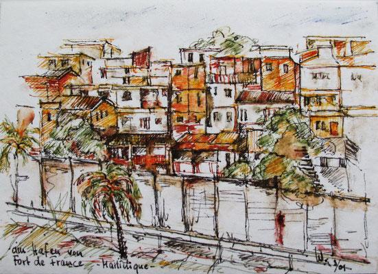 Blick vom Hafen auf Fort de France_Martinique_15x20 cm