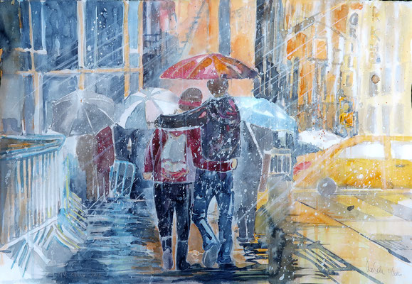 "NYC. Times Square ""a rainy day""_Aquarell 38 x 56 cm_5-2016"