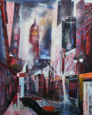 N.Y.  34th street mit Empire-State-Building_Mixed Media auf Leinwand_80x100 cm_6-2015
