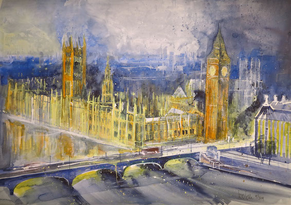 London_Westminster mit Big Ben_Aquarell 41x59 cm 9-2019