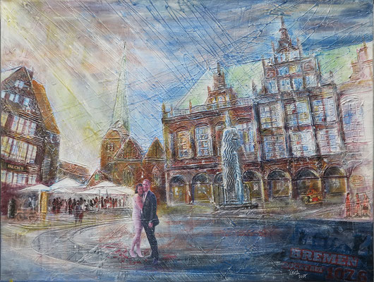 Bremen_Marktplatz_Mixed-Media Collage auf Leinwand 60 x 80 cm_2-2017
