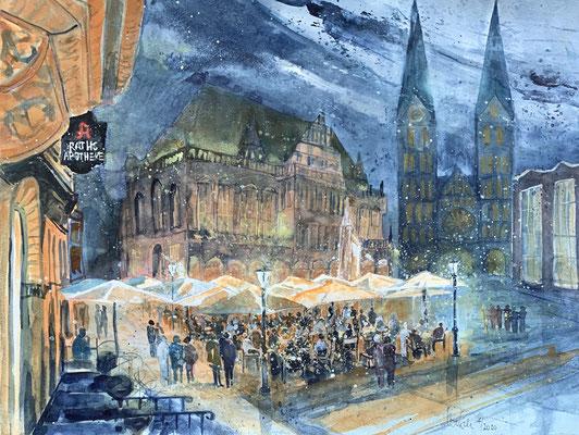 Bremen_Marktpatz zur blauen Stunde_Aquarell 50x65 cm_4-2020