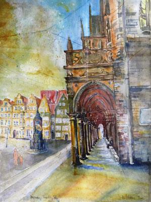 Rathausarkaden mit Marktplatz in Bremen_56x76 cm