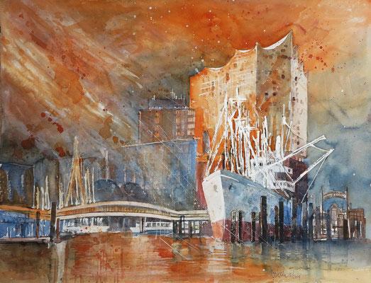 Hamburg_Elbphilharmonie mit Cap San Diego_Aquarell 50x65cm