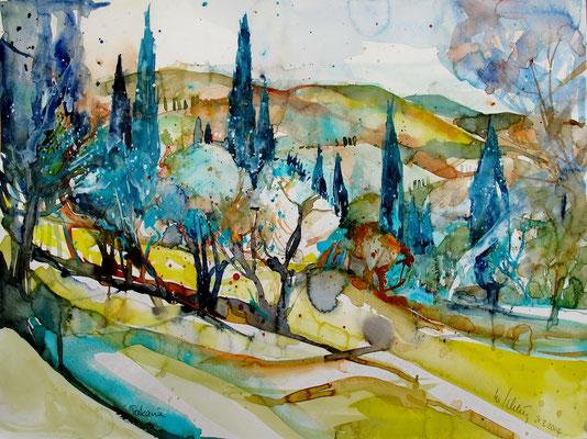 Toskana_Olivenbäume und Zypressen vor San Miniato_Toskana_36x48 cm