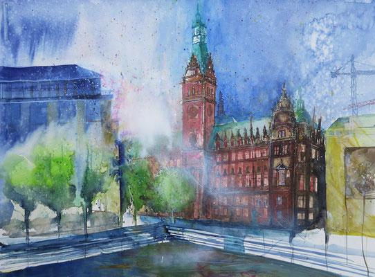 Hamburger Rathaus_Aquarell bei Regen pleinair entstanden_56x76 cm_9-2015