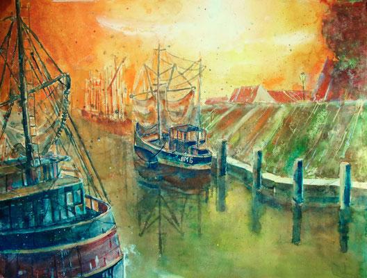 Krabbenkutter im Hafen von Greetsiel_45x61 cm
