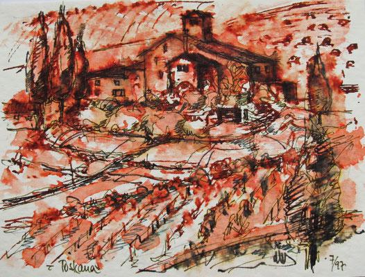 Weinberge bei Lucca_Toscana_12x18 cm