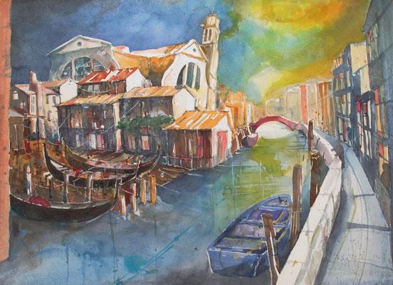 Rio San Trovaso mit der ältesten Gondelwerft Venedigs_56x76 cm