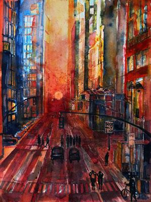 """N.Y. """"Manhattanhendge"""" in der 42.Straße_36x48 cm"""
