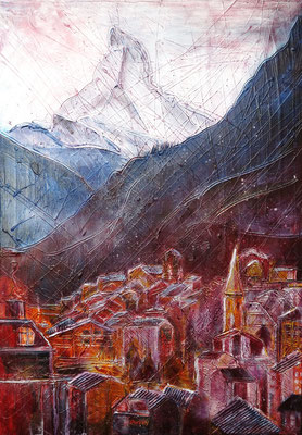 Zermatt mit Matterhorn_Mixed-Media Collage auf Leinwand 50 x 70 cm_12-2018