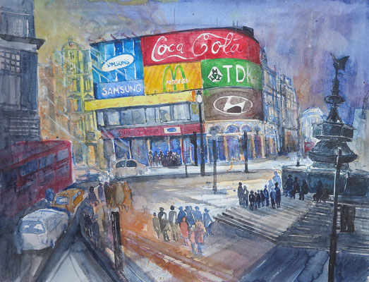 London_Piccadilly Circus_Aquarell 45x61 cm_2-2017