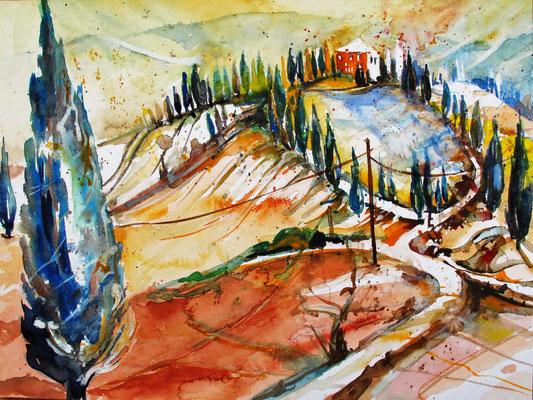 Toskana_Landschaft bei Volterra_30x40 cm