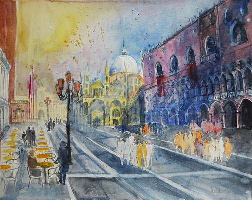 Venedig_Piazza San Marco mit Palazzo Ducale_Aquarell 50x65 cm_4-2017