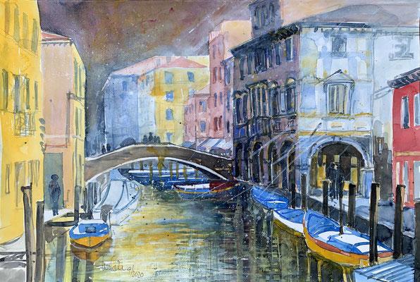 Chioggia -Klein Venedig- Mixed-Media Aquarell 50x65 cm_ 9-2020