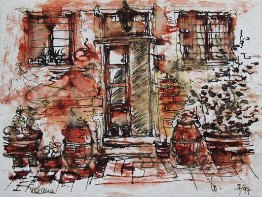 Eingang Winzerhaus bei Lucca_Toskana_ 12x18 cm