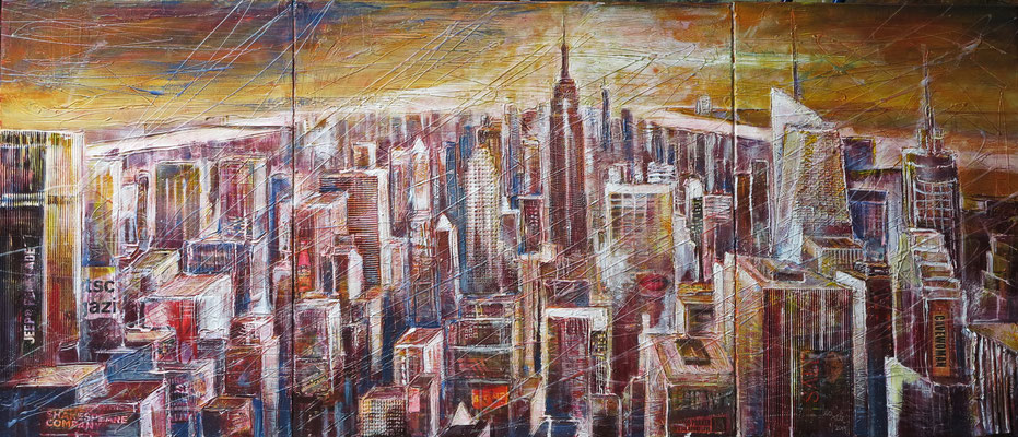 "NY_View downtown from the ""Rock""_Mixed-Media Collage auf Leinwand 60 x 140 cm_1-2019"