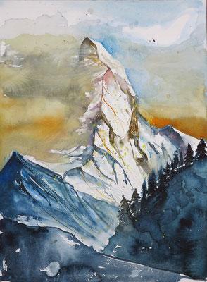 Schweiz_Das Matterhorn_Aquarell 30x40 cm_9-2017