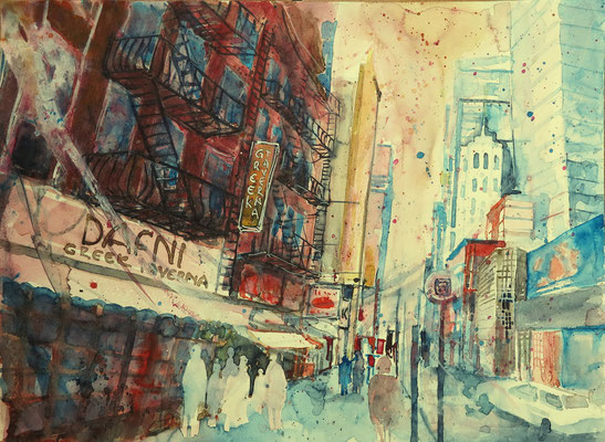 NYC. 42th street_Aquarell 36 x 48 cm_1-2016