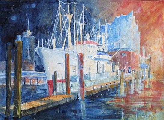 Hamburg_Cap San Diego mit Elbphilharmonie_Aquarell 50x65 cm 7-2019