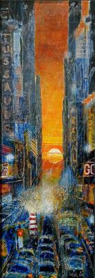 """NY_""""Manhattanhenge"""" in der 42.Straße auf Leinwand 100 x 35 cm_8-2019"""