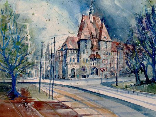 Bremen_Forum Am Wall mit Stadtbiliothek_36x48 cm