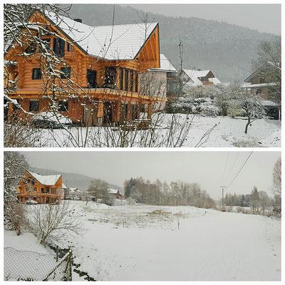 Unser Haus im Schnee. Im Keller ist das Fotostudio