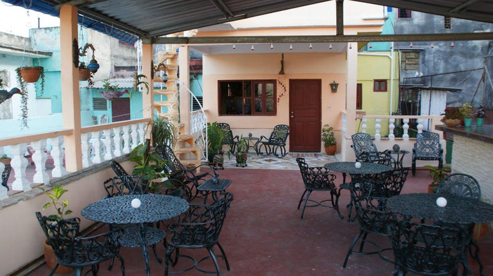 Our terrace on the 2nd floor with view to the apartment of the 'Casa Sol y Salsa'