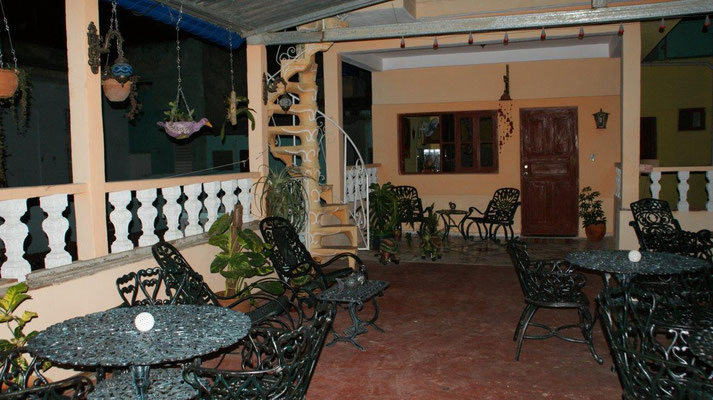 Our terrace on the 2nd floor at night
