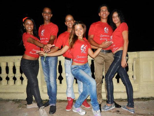 Profesores de Salsabor a Cuba: Mileydis, Ñico, Curi, Yenny, Chino y Yaneyvis
