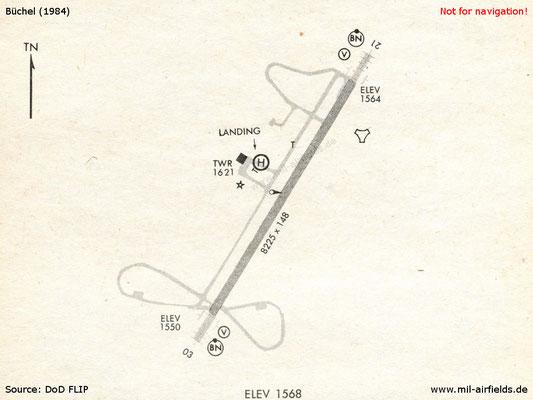 1984 Karte Flugplatz Büchel