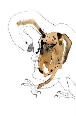 Der Vogel Selbsterkenntnis, Bleistift & Tusche auf Karton, 24 x 16,5 cm, 2017