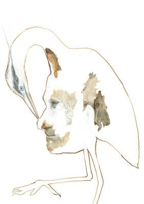 Der Vogel Selbsterkenntnis, Bleistift & Tusche auf Karton, 33 x 24 cm, 2016