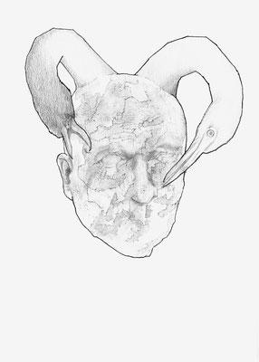 Der Vogel Selbsterkenntnis, Bleistift & Tusche auf Papier, 29,7 x 21 cm, 2017